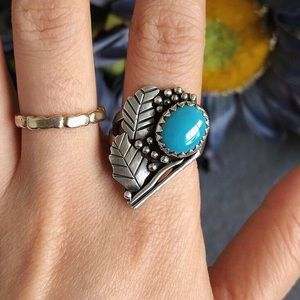 Sterling silver sleeping turquoise ring